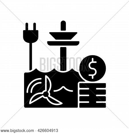 Tidal Energy Price Black Glyph Icon. Hydropower Resource Supply Production Cost. Renewable Power Gen