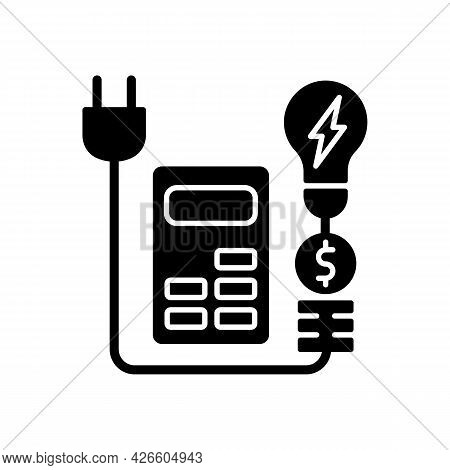 Energy Price Rebates Black Glyph Icon. Discount For Electrical Power Consumption. Save Money On Elec