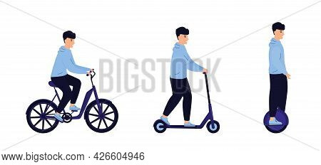Man Riding By Electric Bicycle, Scooter, Monowheel Isolated On White Background. Eco Transport. Tran