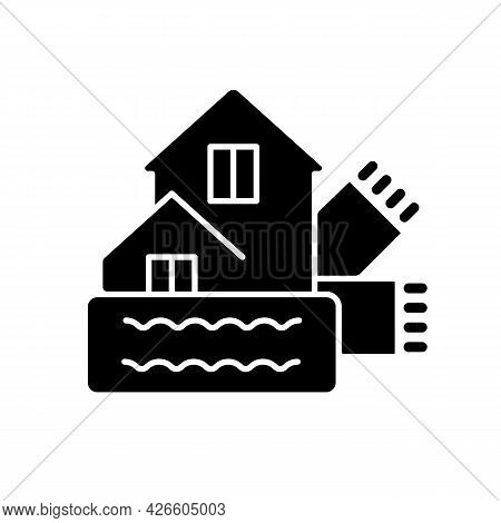 Weatherization Black Glyph Icon. Weatherproofing Building. Efficient Insulation For Home. House Heat