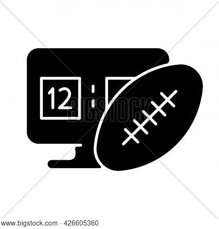 Online Football Games Black Glyph Icon. Modern Sport Matches Simulator Types. Competitive Time Spend