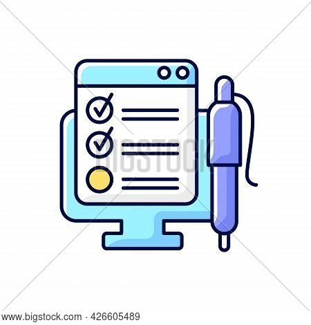 Online Form Rgb Color Icon. Checklist For Project Task. Internet Questionnaire With Control Checklis