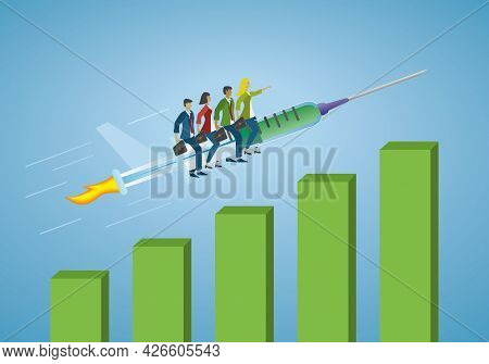 Business People Riding On Big Vaccine Syringe And Change To Improvement In Business. Vector Illustra