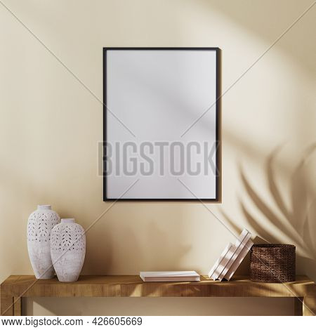 Blank Poster Frame Mock Up On Light Brown Wall With Palm Leaf Shadow And Shelf With Decor, 3d Render