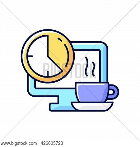 Breaks In Work Graphic Rgb Color Icon. Time For Rest On Workplace In Office. Employee Relax In Front
