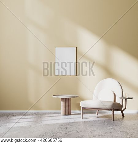 Poster Frame Mock Up In Modern Living Room Interior With Beige Armchair And Coffee Table With Beige