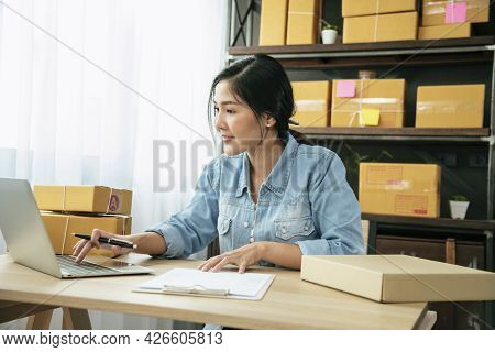 Online Seller Close Up Hands Young Asian Woman Typing Laptop Keyboard Checking Online Order, Check G
