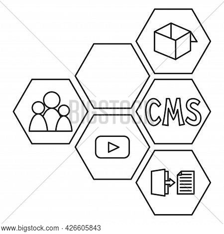 Black And White Line Art Pattern Of Cms Elements. Hexagon Arrow Point Left