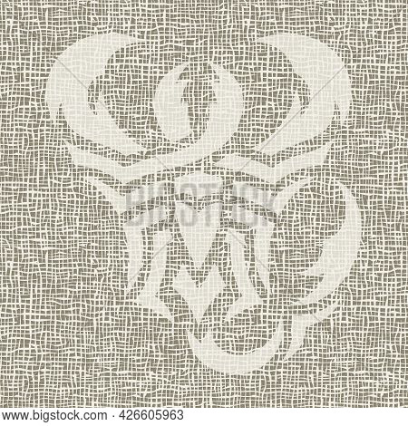 Poster With An Abstract Image Of A Scorpion. Rough Linen Canvas, Weaving, Burlap. Gray, Beige And Br