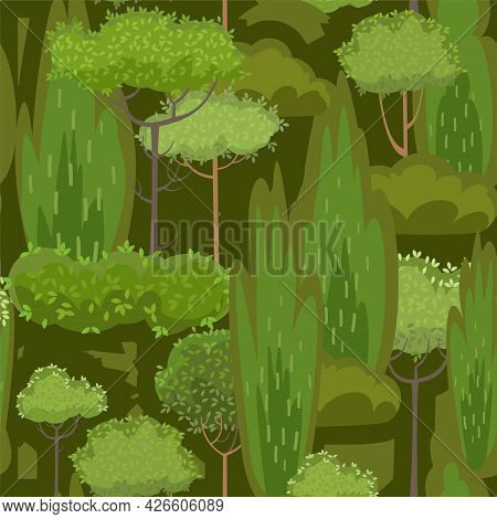 Rural Summer Beautiful Landscape. Seamless Pattern. Dark Forest. Cartoon Style. Trees And Shrubs. Ro