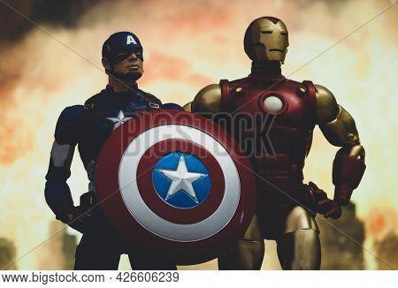 JUNE 12 2021: Scene from Marvel's The Avengers Civil War, Captain America vs. Iron Man - Hasbro action figure