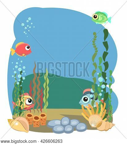 The Bottom Of The Reservoir With Fish. Blue Water. Sea Ocean. Isolared. Underwater Landscape With An