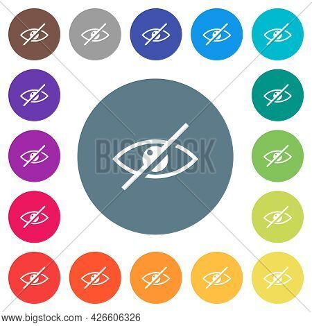 Visually Impaired Flat White Icons On Round Color Backgrounds. 17 Background Color Variations Are In