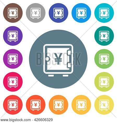 Yen Strong Box Flat White Icons On Round Color Backgrounds. 17 Background Color Variations Are Inclu