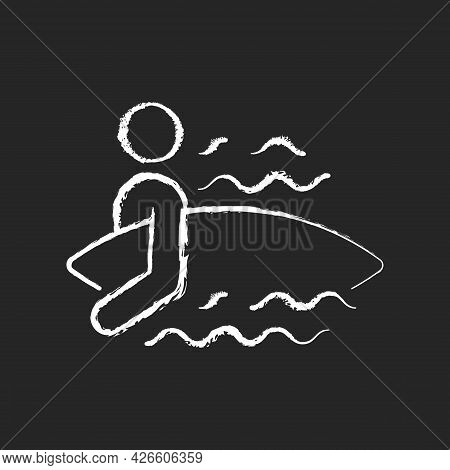 Surfer Entering Water Chalk White Icon On Dark Background. Surfing For First Time. Choosing Surf Spo