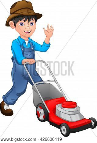 Happy  Boy Is Mowing The Lawn With The Lawn Mower