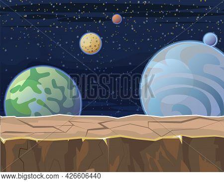 Cosmos Background. Platform. Starry Sky Landscape. Planets. Flat Style. Cartoon Design. Vector