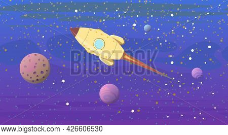 Cosmos Background. The Planets, Their Satellites And The Rocket. Starry Sky Landscape. Dark Colors.