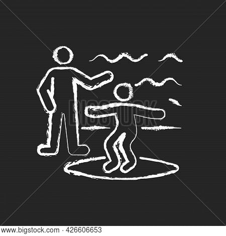 Surfing Lessons Chalk White Icon On Dark Background. Take Classes From Experienced Surfer. Learning