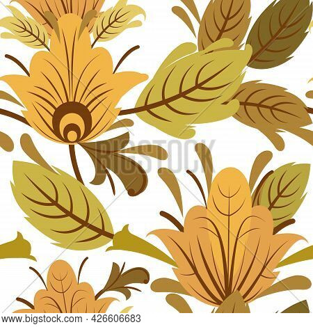Silver Vegetable Seamless Pattern. Cool Ornament. Interlacing Of Branches And Flowers. Background Il