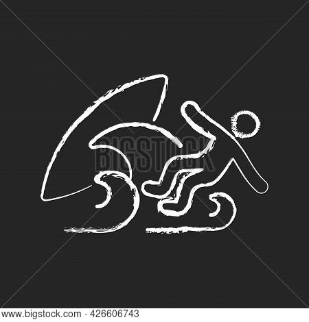 Surf Wipeout Chalk White Icon On Dark Background. Being Thrown Off Surfboard By Breaking Waves. Lead