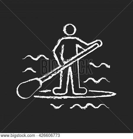 Paddle Board Surfing Chalk White Icon On Dark Background. Sup Surfing. Upper Body Training. Requirin