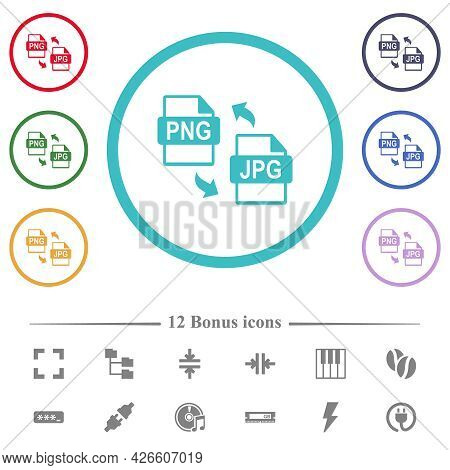 Png Jpg File Conversion Flat Color Icons In Circle Shape Outlines. 12 Bonus Icons Included.