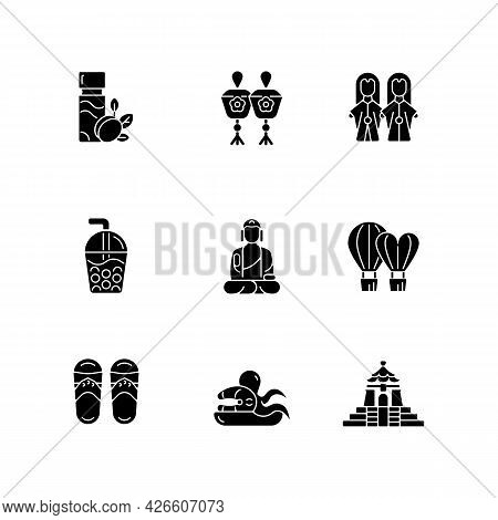 Traditional Taiwanese Black Glyph Icons Set On White Space. Buddha Great Journey Satisfaction. Budai