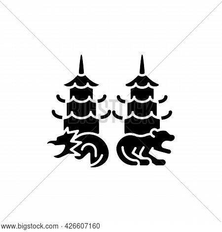Dragon And Tiger Pagodas Black Glyph Icon. Taiwanese National Building. Chinese Cultural Values. Asi
