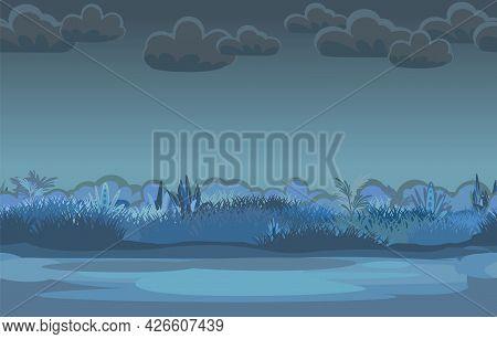 Night Road Through The Meadow. Dark Herbal Glade. Grass Close Up. Rural Landscape. Trail. Cartoon St