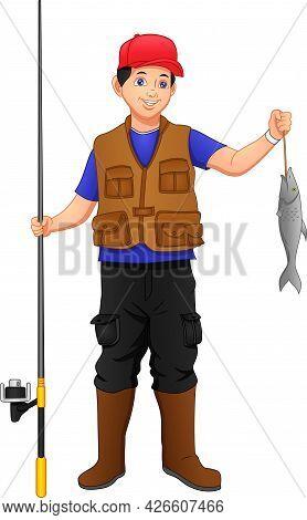 Fisherman Catching Fish With Fishing Rod Set