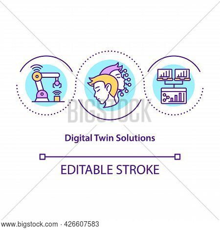Digital Twin Solutions Concept Icon. Robotic Technologies. Smart Computer. Automation Systems Abstra