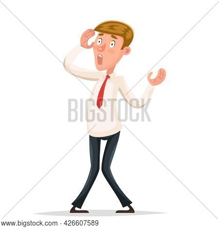 Helpless Businessman Scared Shoked Character Isolated Icon Cartoon Design Vector Illustration