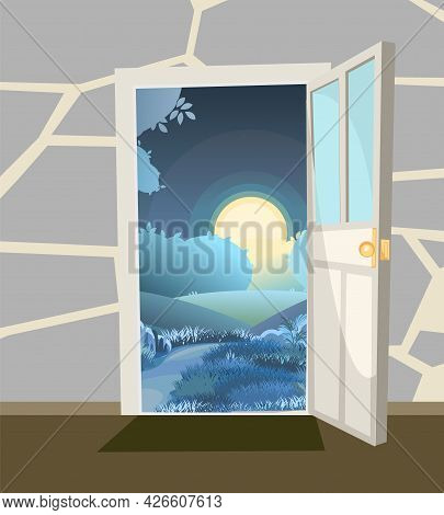 Opened Door. From Inside Of Room At Home. Green Landscape Night View On Hills And Moon. Stone Wall.