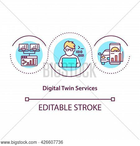 Digital Twin Services Concept Icon. Innovative Software Creation. Modern Computers. Automation Syste