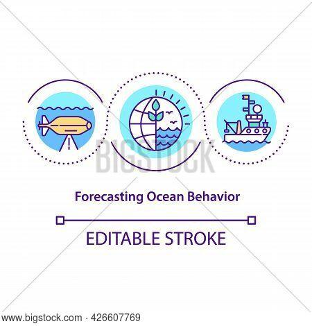 Forecasting Ocean Behavior Concept Icon. Protect Marine Social Ecological Systems. Modern Technologi