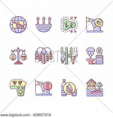 Global Water Crisis Rgb Color Icons Set. Isolated Vector Illustrations. Water Resources Contaminatio