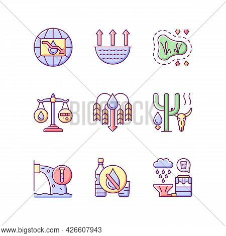 Water Resources Lacking Rgb Color Icons Set. Isolated Vector Illustrations. Water Scarcity. Evaporat