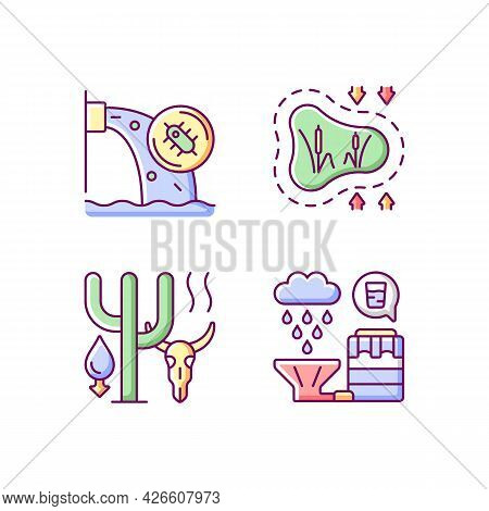 Worldwide Rising Water Demand Rgb Color Icons Set. Isolated Vector Illustrations. Water Contaminatio