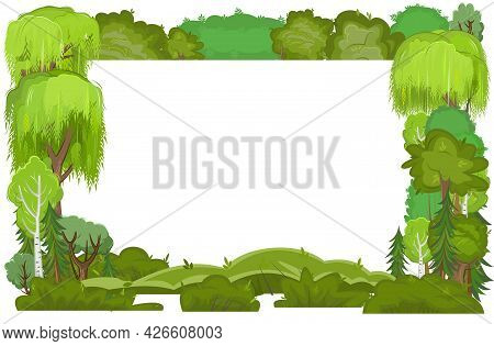 Frame Made Of Summer Trees And Bushes. Flat Style. Cartoon Design. Objects Are Isolated On A White B