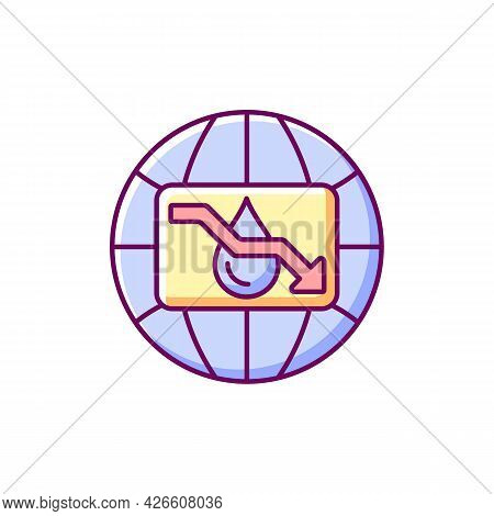 Water Scarcity Rgb Color Icon. Isolated Vector Illustration. Experiencing Drought Conditions Globall