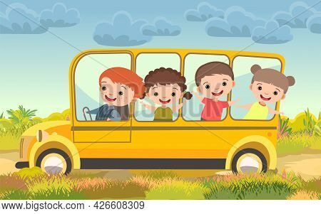 Adventure Of Children On Vacation. Rural Countryside Landscape With Meadow And Road. Childrens Carto