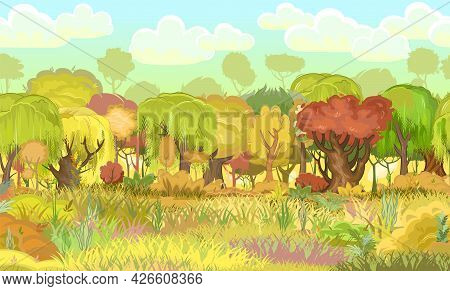 Forest Autumn Meadow. Green, Yellow, Red Trees. Edge With Grass. Glade And Bushes. Beautiful And Gra