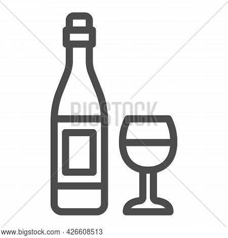 Bottle Wine And Glass Line Icon, Winery Concept, Alcohol Beverage And Wineglass Vector Sign On White