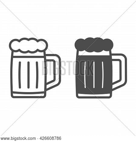 Glass Of Beer Line And Solid Icon, Bar And Brewery Concept, Beer Mug Jar Vector Sign On White Backgr