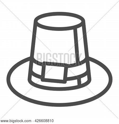 Farmer Hat For Men Line Icon, Headware Concept, Thanksgiving Pilgrim Top Hat Vector Sign On White Ba
