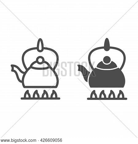 Kettle On Fire Line And Solid Icon, Kitchen Ware Concept, Teapot On Gas Stove Vector Sign On White B
