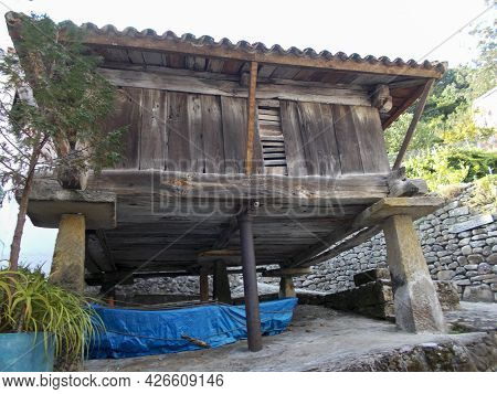 View Of A Wooden Horreo, Typical Rural Construction In Asturias, Spain. Europe. Horizontal Photograp