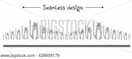 Funny Seamless Border With Tigers. Year Of The Tiger Background. Simple Drawing Of A Tabby Cat. Fabr
