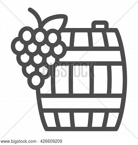 Grapes And Wine In Barrel Line Icon, Winery Concept, Wooden Butt And Grape Cluster Vector Sign On Wh
